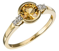 Ring 9 Karat (375) Gelbgold 1 Quarz Gelb 4 Diamanten 0