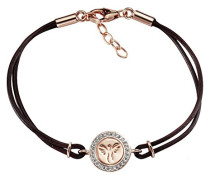 Celesta Silber Armband 925 Sterling Silber teilvergoldet Leder Zirkonia weiß Brillantschliff 19 cm 360260144RV-20