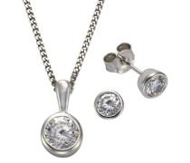 ZEEme Set: Halskette + Ohrringe 925 Sterling Silber Zirkonia weiß 45cm 500201385-1