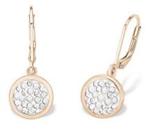 Ohrhänger rosévergoldet veredelt mit Swarovski Kristallen und weißen Glasperlen 29 mm