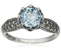 Ring 925 Silber vintage-oxidized Topas blau Markasit 50 (15.9) - L0035R/90/W4/50