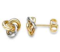 Ohrringe Bicolor Gelbgold/Weißgold 9 Karat/375 Gold Ohrstecker