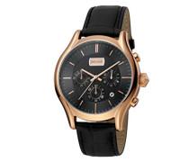 Chronograph Quarz Uhr mit Leder Armband JC1G038L0055