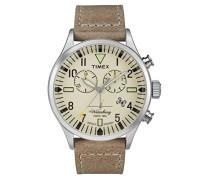 Chronograph Quarz Uhr mit Leder Armband TW2P84200
