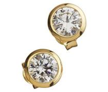 Celesta Silber Ohrstecker 925 Sterling Silber teilvergoldet Zirkonia Rundschliff weiß 273220546-1