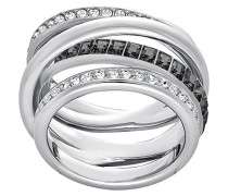 Ring Dynamic rhodiniert Kristall transparent
