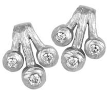 Ohrstecker 925 Sterling Silber rhodiniert mattiert Zirkonia weiß ZO-5233