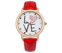 – m1214rrg Armbanduhr – Quarz Analog – Weißes Ziffernblatt – Armband Leder Rot