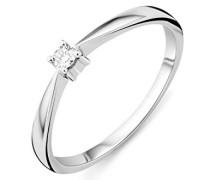 Ring Solitär Verlobungsring Weißgold 9 Karat / 375 Gold Diamant Brilliant 0.05 ct
