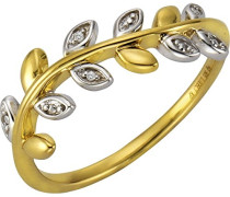 Ring 925 Sterling Silber teilvergoldet Diamant 0.006 ct weiß Rundschliff