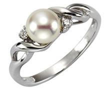 Pearls Ring 925 Sterling Silber rhodiniert Zirkonia Süßwasserzuchtperle weiß