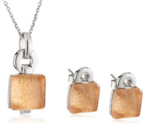 Set: Halskette + Ohrringe 925 Sterling Silber Glas braun SET-5213