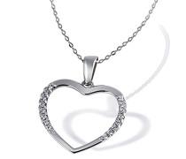Halskette 925 Sterlingsilber rhodiniert 16 weiße Zirkonia Kettenanhänger Schmuck