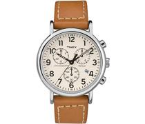 Erwachsene Chronograph Quarz Uhr mit Leder Armband TW2R42700