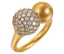 Ring 925 Sterling Silber rhodiniert Glas Zirkonia Réunion weiß