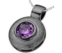 Halskette 925 Sterling Silber rhodiniert mattiert Zirkonia violett