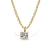 Kette mit Anhänger Solitär Jana Solitär Halskette Jana 0.05 ct. 585 Gelbgold Diamant (0.05 ct) weiß Brillantschliff Kettenanhänger Schmuck Diamantkette