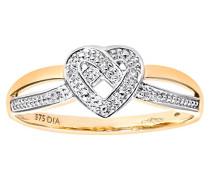 Damen-Ring 9 K 375 Bicolor
