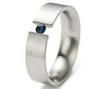 Damen-Ring Edelstahl Blausaphir 6mm