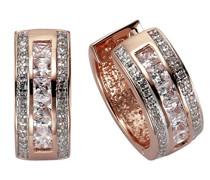 Celesta Silber Creolen 925 Sterling Silber vergoldet teilrhodiniert Zirkonia weiß Quadratschliff 360210221V1