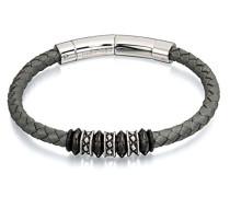 Grau Leder Verstellbare Verschluss Armband mit Perlen von 23 cm