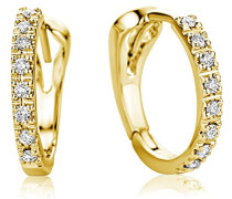 Ohrringe Creolen Gelbgold 18 Karat / 750 Gold Diamant Brillianten 0.10 ct