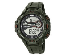 Digitale Armbanduhr mit LCD Dial Digital Display und Grün Kunststoff Gurt k5695/3
