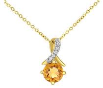 9 k (375) Gelbgold Rundschliff gelb Citrine Diamant