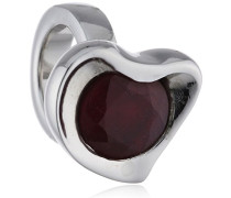 Charm 925 Sterling Silber Granat Ruby Heart rot 21751