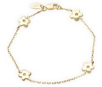 Kinder-Armband 18 Karat (750) Gelbgold Blumen mit Brillanten 16cm AG0230