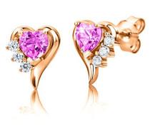 Ohrstecker 925 Sterling- Silber Herzschliff Pink/Rosa Synthetischer Saphir