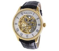 Dignatio Skeleton Collection Automatik Armbanduhr mit skelettieretem Zifferblatt und offener Unruh - Analoge Anzeige - Echtlederarmband Gehäuse aus Edelstahl Größe XL - CO13H18