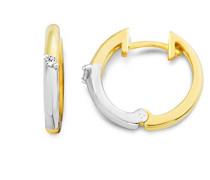 Creolen 9 Karat (375) Gelb-/Weißgold 2 Brillanten MIN912E