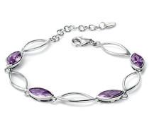 Armband Silber, verbunden mit Marquiseschliff Zirkonia Violett 18