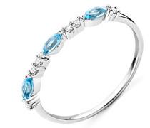 Ring Weißgold 9 Karat/375 Gold Blauer Topas Diamant Brillianten 0.05 ct