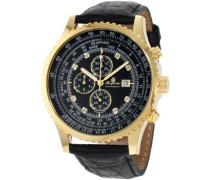 Armbanduhr für mit Analog-Anzeige, Chronograph und Lederarmband - Wasserdichte Herrenarmbanduhr mit zeitlosem