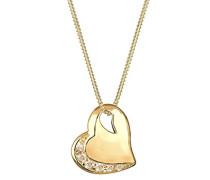 Halskette mit Anhänger Herz vergoldet silber 925 Swarovski Kristall