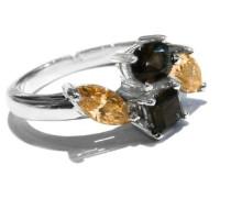 FINERING 925 Sterling-Silber Sterling-Silber 925 braun Rauchtopas Oxyde de Zirconium
