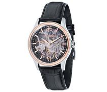 Bauer Shadow ES-8061-07 mechanische Armbanduhr, schwarzes Zifferblatt mit Skelett-Anzeige