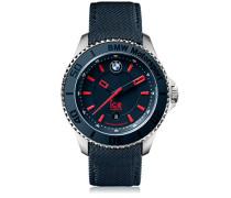 BMW Motorsport (steel) Blue Red - Blaue Herrenuhr mit Lederarmband - 001114 (Medium)