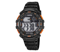 Digitale Armbanduhr mit LCD Dial Digital Display und schwarz Kunststoff Gurt k5702/6
