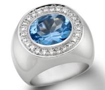 Damenring 925 Sterling-Silber Größe 54 mit blauem Topas und Zirkonia SI002RO