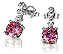 Ohrstecker 925 Silber rhodiniert pink Brillantschliff Zirkonia 1.6 cm - Fa O7630SR Ohrringe Schmuck