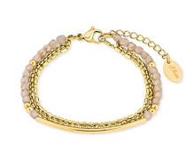 Armband Edelstahl IP Gold Beschichtung Glassteine creme