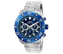 22517 Pro Diver Uhr Edelstahl Quarz blauen Zifferblat