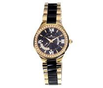 Armbanduhr Schwarz Analog Quarz Premium Keramik Diamanten - STM15Y8