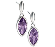 Silber 925 Ohrringe Marquiseschliff Zirkonia violett