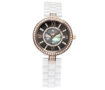 Armbanduhr - Analog Quarz - Premium Keramik Armband - Perlmutt Zifferblatt - Diamanten und Swarovski Elemente - STM15SM3