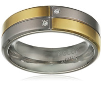 Ring Titanium Titan teilvergoldet Kristall transparent Brillantschliff
