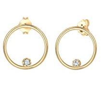 Ohrringe Ohrstecker Kreis Swarovski Kristalle 925 Sterling Silber vergoldet